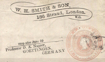 MS2708* QV GB ADVERTISING RING Postal Stationery Front *W. H. Smith* Penny Pink