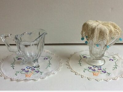 Vintage Cut Glass/Crystal 2 x Sauce Jugs 1 x Crochet Jug Cover 2 x  Doily LOT