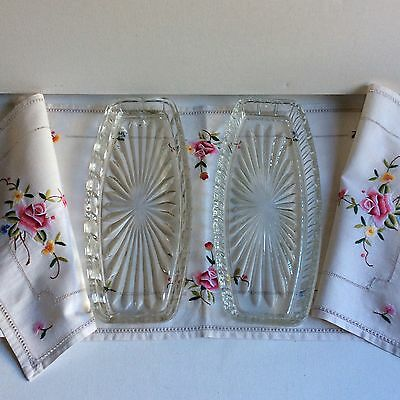 Vintage Clear Cut Glass Sandwich Plates x 2 Bonus Embroidered Table Runner LOT
