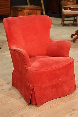 LOVELY SMALL ARMCHAIR armchair FRENCH FABRIC RED PERIOD '900 (H 81 cm)