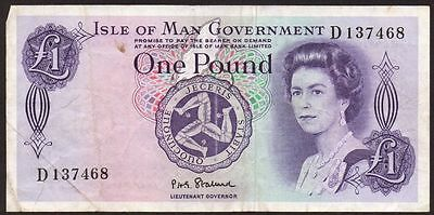 1972 ISLE OF MAN GOVERNMENT £1 BANKNOTE * D 137468 * aVF *