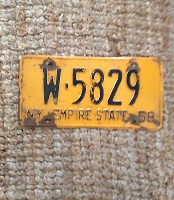 1958 New York License Plate Empire State W-5829