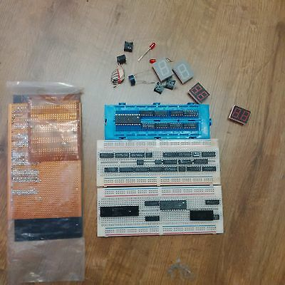 Electronics - solderless and solder breadboards, ICs and components (used)