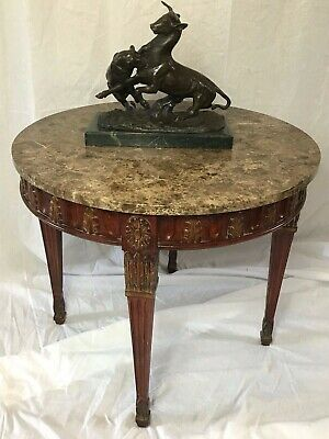 1 Magnificent Antique French Regency Style Round Centre Marble Top Carved Table