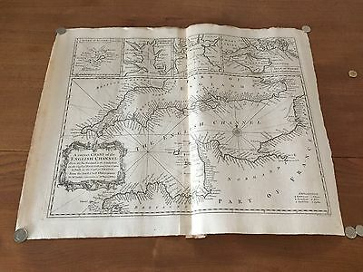 Antique Print - English Channel Chart - Tindal- Seale c 1745