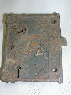 Antique Eastlake Penn Mortise Lack Cast Iron Ornate Case Skeleton Key Hole