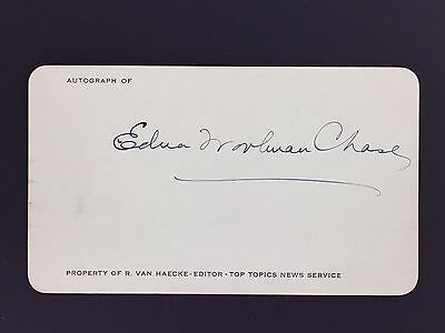 RARE Edna Woolman Chase Signed Autograph Card Vogue Editor c.1940