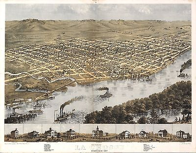 wi21 Antique old panoramic map WISCONSIN genealogy family history LA CROSSE 1867