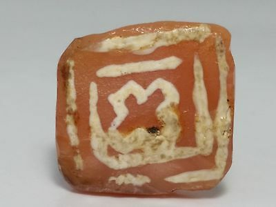 ANCIENT LARGE PYU TABULAR ETCHED CARNELIAN / AGATE BEAD (20.8mm x 19mm)