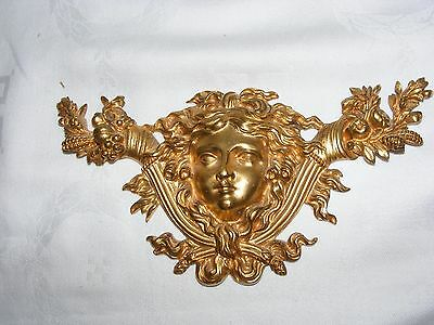 Antique French Empire Bronze Ormolu Demeter Bacchus Furniture Pediment