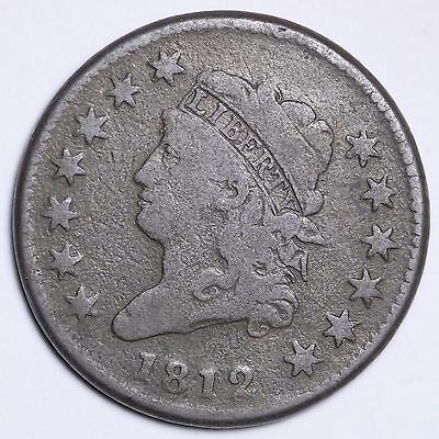 1812 Classic Head Large Cent CHOICE VG FREE SHIPPING E107 UPT