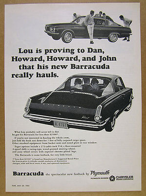 1964 Plymouth Barracuda 'the spectacular new fastback' vintage print Ad