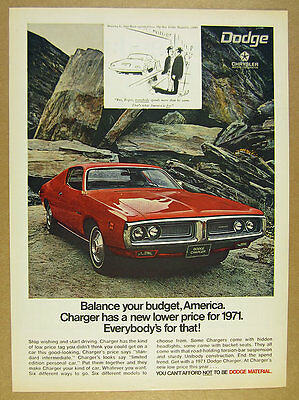 1971 Dodge Charger red car photo vintage print Ad