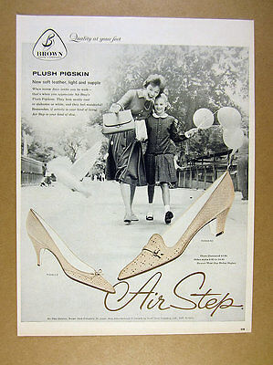 1959 brown shoe co Air Step pigskin shoes mother daughter photo vintage print Ad