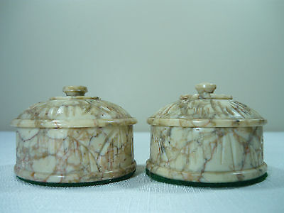 2 Small Stone/marble Jars With Lids ??