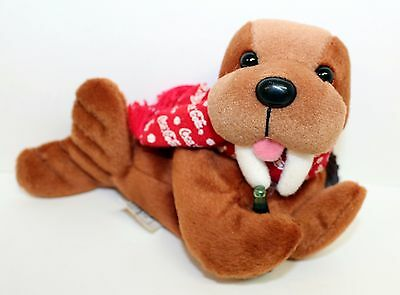 """1997 Walrus with Scarf and Coke Bottle COCA COLA 7"""" Bean Bag Plush #0124"""