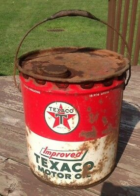 "Vintage ""Improved"" TEXACO Motor Oil Can 5 - Gallon Very Cool"