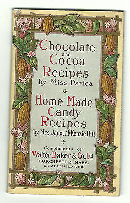 1911 Walter Baker Chocolate Cocoa Recipes Miss Parloa Candy Hill Crumling Hellam