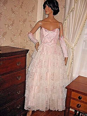 VTG 80s FLIRTATIONS PINK WHITE LACE SOUTHERN BELLE PRINCESS BALLGOWN-ARM COVERS