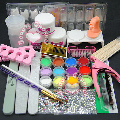 New 12 Color Acrylic Powder Nail Brush Files Deco Nail Art Tools Kit Tips Set