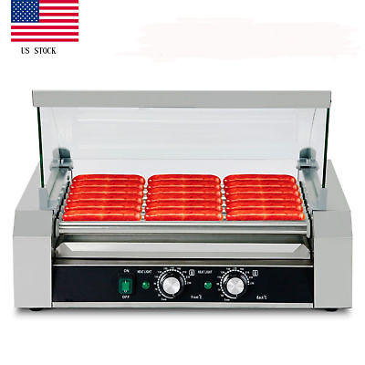 Quality Commercial 18 Hotdog Hot Dog 7 Roller Grill Cooker Machine With Cover