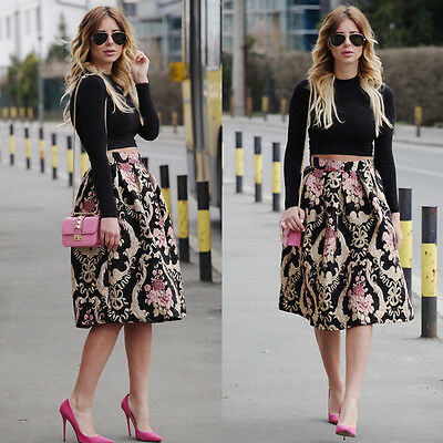 Sexy Women Retro Floral High Waist Pleated Party A-Line Midi Skater Skirt Dress