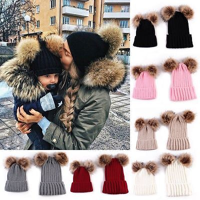2Pcs Mother&Child Baby Women Warm Winter Knit Beanie Fur Pom Hat Crochet Ski Cap