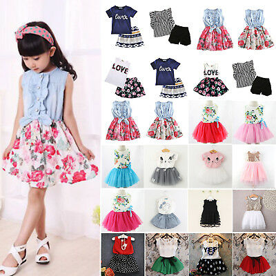 Kids Girls Clothes Floral Dress Shirts Mini Skirts Child Summer Sundress Outfits