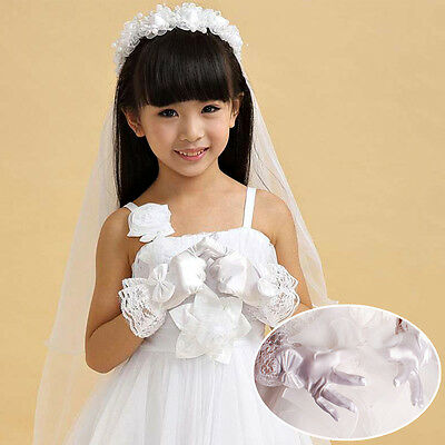 Gloves Lace White Girls Satin Bow-knot Flower Girl Toddlers Performance Dresses