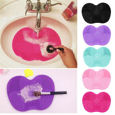 Cosmetic Brush Cleaner Cleaning Makeup Scrubber Board Silicone Pad Mat Hand Tool