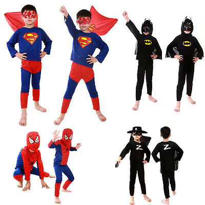 Children Spiderman Superman Batman Cosplay Costume For Kids Boys Party Gifts