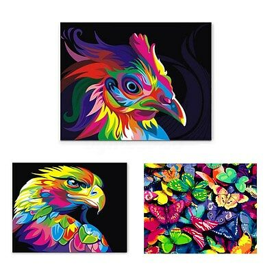 Framed Number Kit Painting By Multi-colored Animals DIY Craft Home Decor 50x40cm