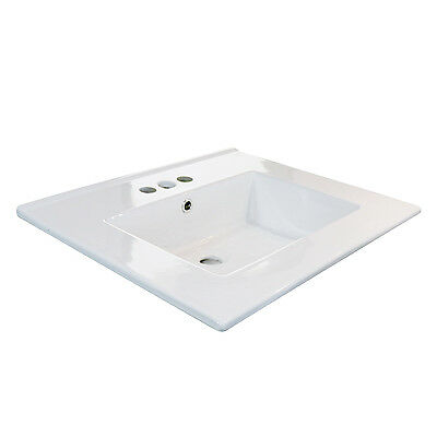 "24"" Bathroom White Ceramic 3 Holes Vessel Sink Drain Drop in Rectangle Overflow"