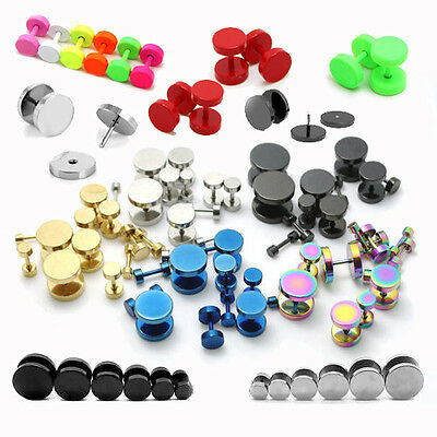 Gents Mens 316L Stainless Steel Barbell Stud Earrings Fake Stretcher Ear Plug