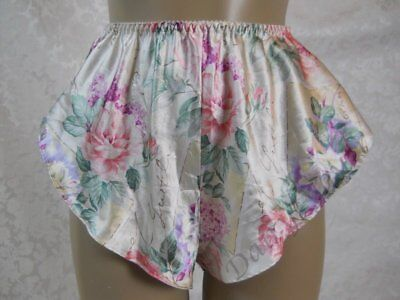 MEDIUM vintage FLORAL pastel SATIN tap PANTY Silky Soft made USA P270