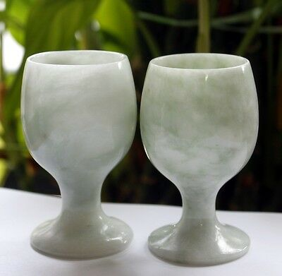 CERTIFIED Natural <Grade A> Chinese Handmade JADE One Pair of Wine Cup #C015