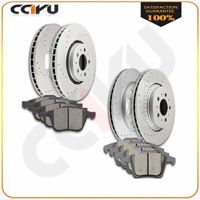 Fits Volvo Xc90 Front + Rear Drilled Slotted Brake Rotors And Ceramic Pads Kit