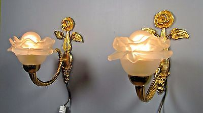 Gilt Figural Sconce: Antique VTG Pair French Eagle Rose Petal Shade Wall Light