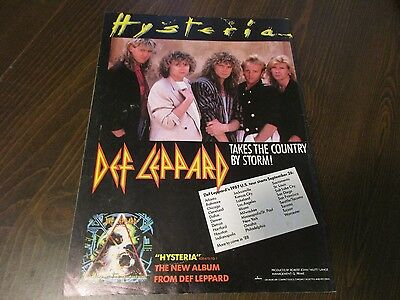 Def Leppard - Hysteria - With Tour Cities Listed 1980's Magazine Print Ad  RARE