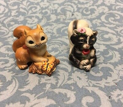 Pair of Linda k Powell animal figurines Poofer Skunk & Stash squirrel w labels
