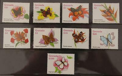 Grenada 2006 Butterflies Set MNH 8v to $20 and $100