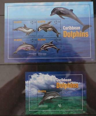 St Kitts  2013 Caribbean Dolphins Sheetlet and Mini Sheet MNH