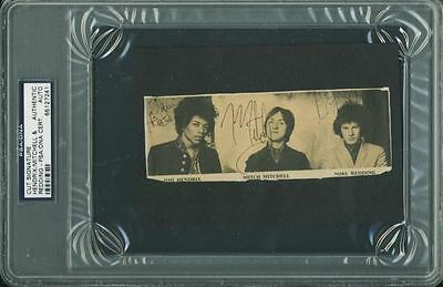 Jimi Hendrix Experience Group Signed 2x5 Newspaper Page Cut Photo PSA Slabbed