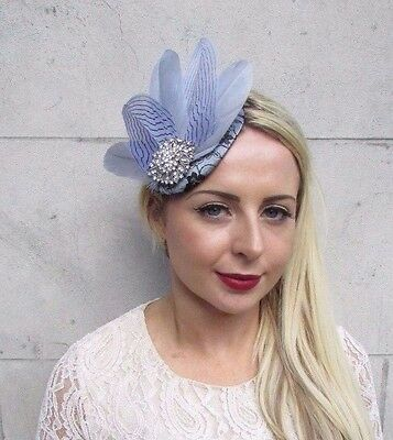 Black Grey Silver Feather Fascinator Pillbox Hat Races Wedding Vintage Hair 3759