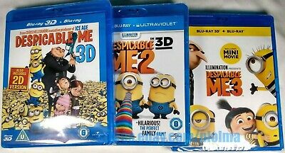 DESPICABLE ME 3D and 2D TRILOGY Brand New BLU-RAY 3-Movie Set 1 2 3 Region-Free
