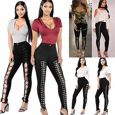Womens Lace Up Skinny Leggings Pencil Pants High Waist Bandage Stretch Trousers