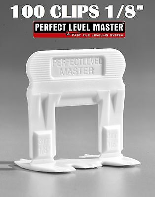 """1/8""""  100 T-Lock Clips - Perfect Level Master  - Tile Leveling System spacers"""