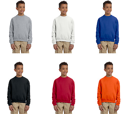 Fruit Of The Loom Boys Youth Fleece Crewneck Sweatshirts Pullover Color & Size
