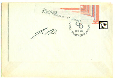 First Day Cover Signed by Joe Clark Prime Minister of Canada