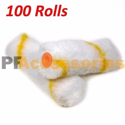 "100 Rolls 4"" inch Mini Paint Roller Cover Refill Gold Stripe Soft Woven 1/2"" Nap"